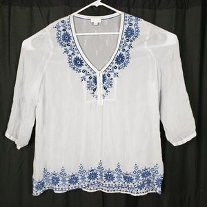 J Jill Embroidered Floral Sheer Top